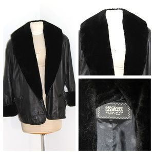 BERGDORF GOODMAN Lambskin Leather Collar Jacket S1